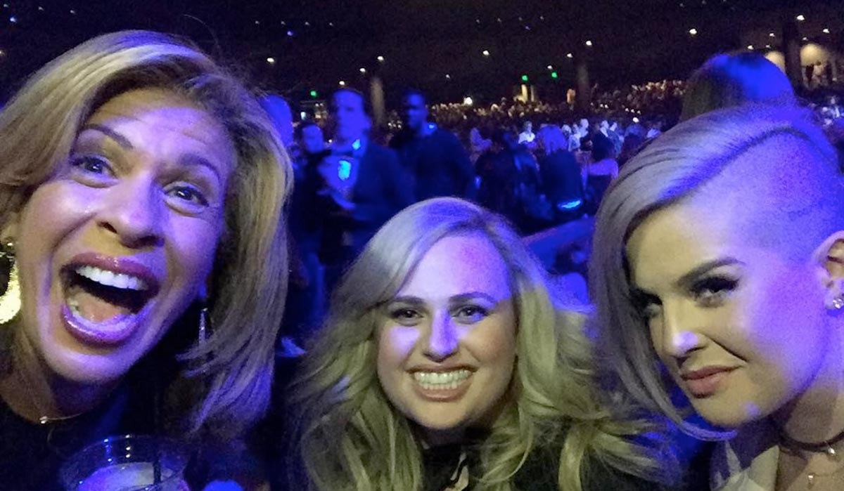 Hoda with Rebel Wilson and Kelly Osbourne at JLO's performance in Vegas. (source: @hodakotb instagram)