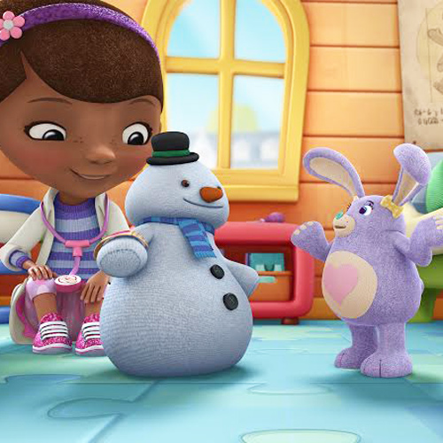 Doc McStuffins with Chilly (the snowman) who ends up giving away stuffing to help Pickles (the purple rabbit)
